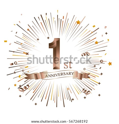 1st anniversary greeting card starburst vector stock vector 1st anniversary greeting card with starburst vector illustration m4hsunfo Images