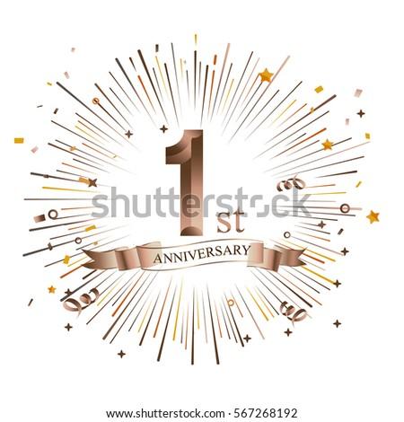 1st anniversary greeting card starburst vector stock vector 2018 1st anniversary greeting card with starburst vector illustration m4hsunfo