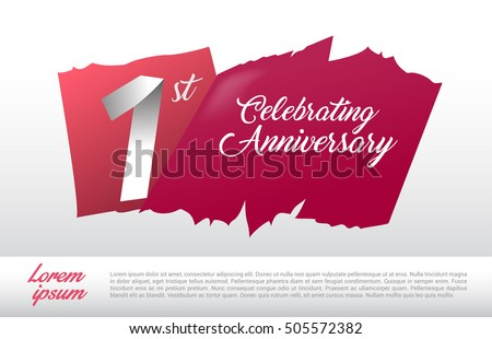 1st anniversary logo red abstract backgrond stock vector 2018
