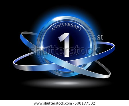 St anniversary blue ring graphic elements stock vector hd
