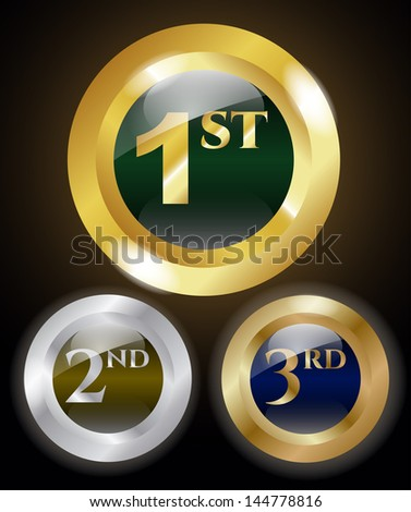 1st, 2nd and 3rd place medals - stock vector