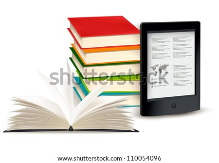 Stack of books with e-book reader. Concept of  Vector illustration. - stock vector