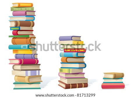 3 stacks of books, different by height.  - stock vector