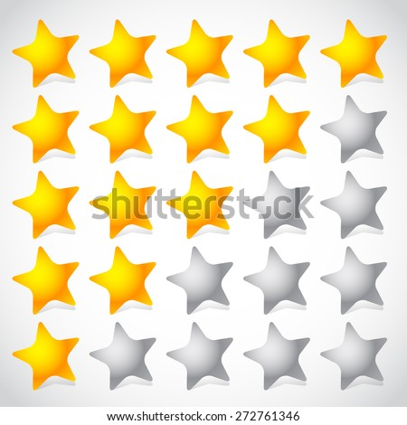 5 star star rating element. Vector graphics. - stock vector