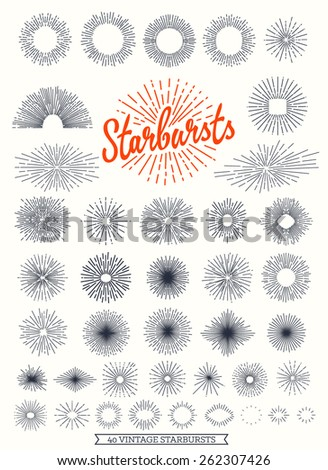 40 Starbursts collection for vintage retro logos, signs. - Designers Collection - stock vector