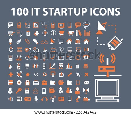 100 startup, business icons, signs, illustrations set, vector