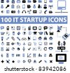 100 startup icons, signs, vector illustration - stock vector