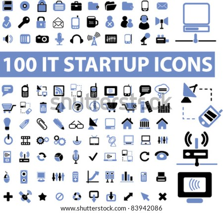 100 startup icons, signs, vector illustration