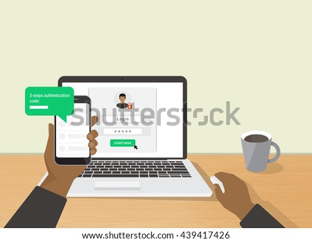 2 steps authentication concept flat illustration of human hand holds smartphone and have a message with id verification code. African man sitting at desktop and getting access to the website - stock vector