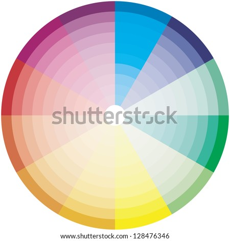 10 steps brightness color wheel - stock vector
