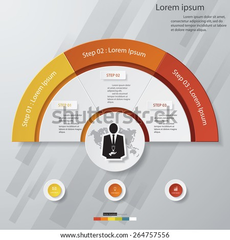 3 Steps chart template/graphic or website layout. Vector. - stock vector