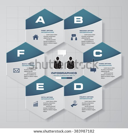 6 steps diagram for your design.Design clean template/graphic or website layout. - stock vector