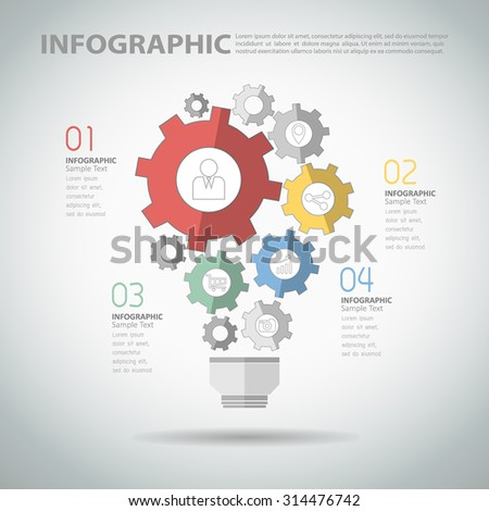 4 steps infographic template with abstract gear ligh bulb - stock vector