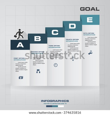 5 steps Infographics vector design template. Simple&Editable for your sample text. Business clean template for diagram, graph, presentation and chart - stock vector