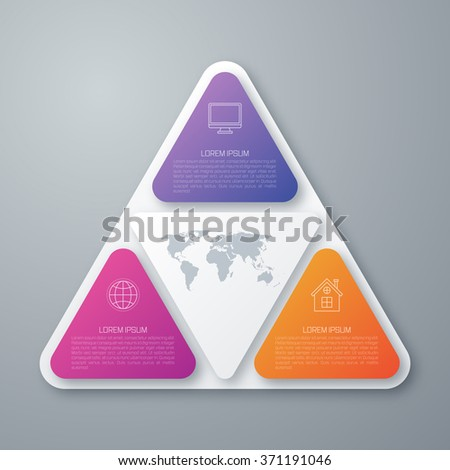 3 Steps Strategy in Triangle Shape for Successful Business Infographic - stock vector