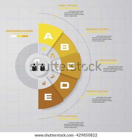 5 steps vector half circle infographic stock vector royalty free