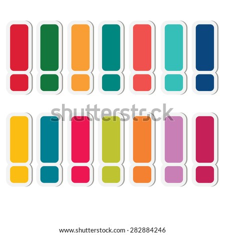 Sticker exclamation marks set. - stock vector