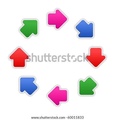 8 stickers arrow sign web 2.0 button. Colored shapes with shadow on white background. 10 eps - stock vector