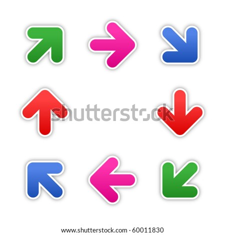 8 stickers arrow sign web 2.0 button with shadow on white background. 10 eps - stock vector