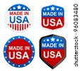 4 stickers - Made in USA. Vector illustration. - stock photo