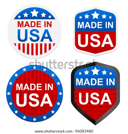 4 stickers - Made in USA. Vector illustration.