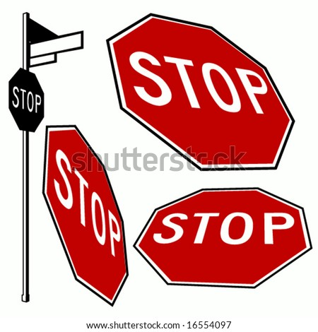 stop signs - stock vector