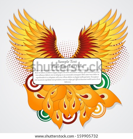 Straighten wings of the phoenix. Abstract vector illustration. Text banner. - stock vector