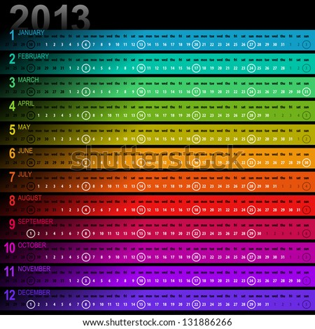 2013 striped calendar with vibrant colors - week starts with sunday - stock vector