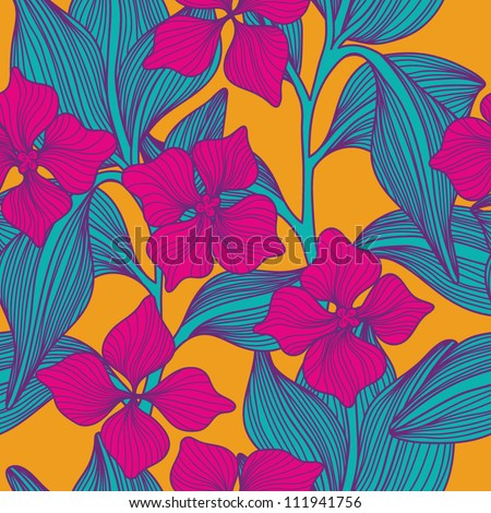 Stylish colorful vector floral leaf seamless pattern with text - stock vector