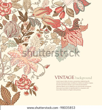 Stylish Vintage Floral Background in pastel tones - stock vector