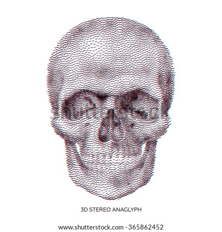 Stylized stereo anaglyphic 3D Bony skeleton of the face and the anterior part of the skull, design element, vintage illustration in pointillism style - stock vector