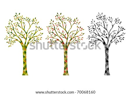 3 stylizes versions of cubism trees, black and white, and two colors.