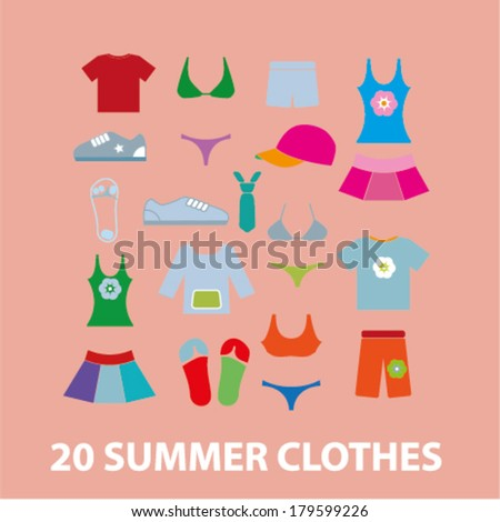 20 summer clothes icons, signs set, vector - stock vector