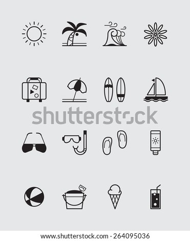 16 Summer icons black - stock vector