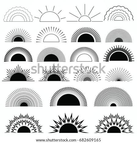 Sun Burst Star And Firework Shapes Vintage Logo Labels Badges
