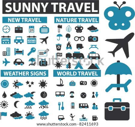 100 sunny travel icons, signs, vector illustrations - stock vector