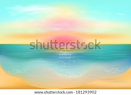 Sunset on the sea. Seascape.  - stock vector