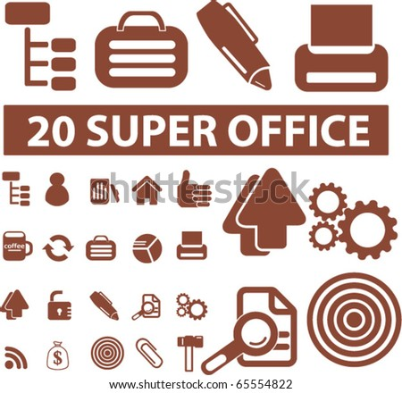 20 super office signs. vector - stock vector