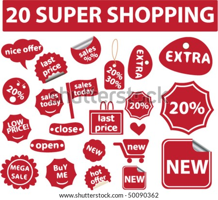 20 super shopping stickers. vector