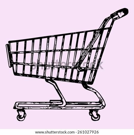supermarket shopping cart, doodle style, sketch illustration - stock vector