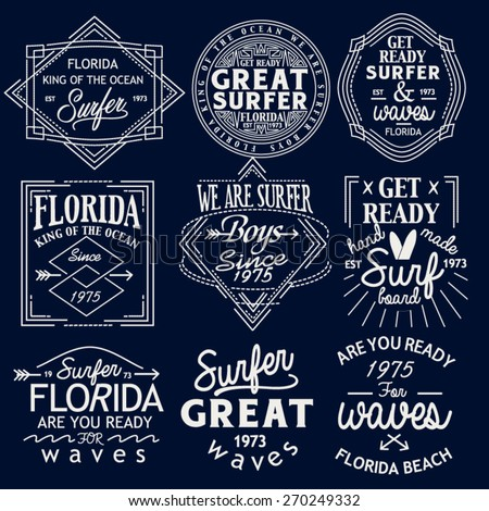 Surfing Design set. Tee Printing. Badge Applique Label set - stock vector