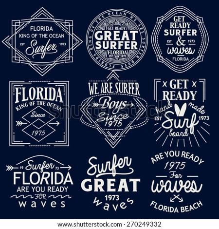 Surfing Design set. Tee Printing. Badge Applique Label set - stock vector