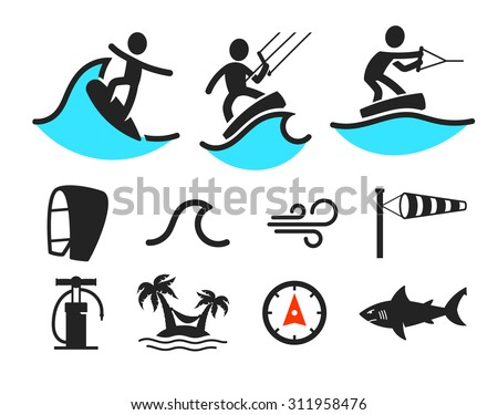 Surfing icons - stock vector
