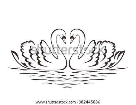 Swan couple silhouette. Vector illustration. - stock vector