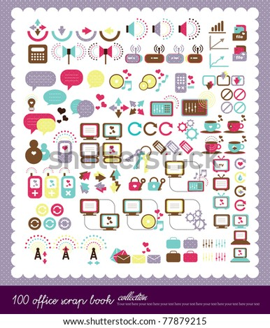 100 sweet icon collection - stock vector