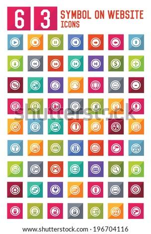 63 Symbol on website icon set,vector - stock vector