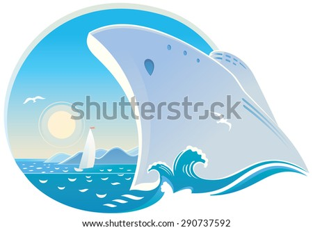 Symbolic vector illustration of dedicated to cruise, seaside holiday, and travel. - stock vector