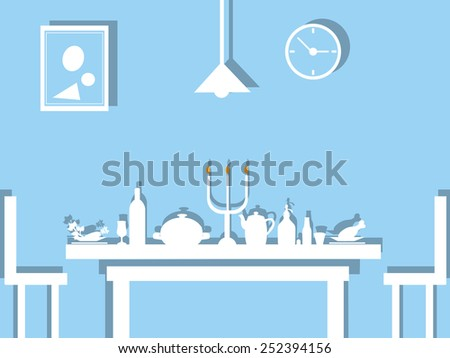 table dinner, flat design image on blue background. - stock vector