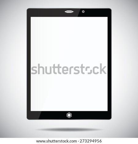 tablet computer with blank screen isolated on white background