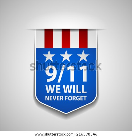 9/11 tag - stock vector
